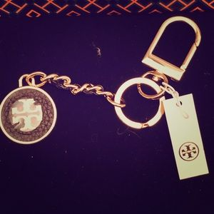 Tory Burch- Mercer Leather Inlay Keyfob in Black